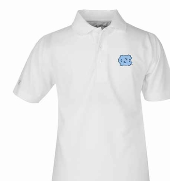 North Carolina YOUTH Unisex Pique Polo Shirt (Color: White)