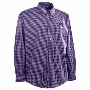 Northwestern Mens Esteem Check Pattern Button Down Dress Shirt (Team Color: Purple)