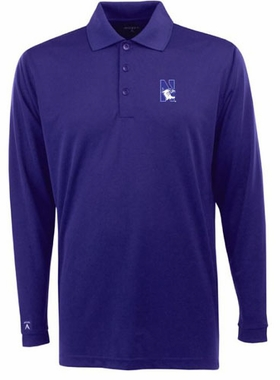 Northwestern Mens Long Sleeve Polo Shirt (Team Color: Purple)