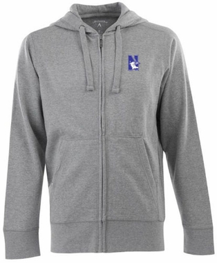 Northwestern Mens Signature Full Zip Hooded Sweatshirt (Color: Gray)