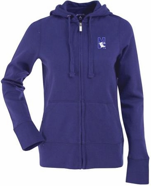 Northwestern Womens Zip Front Hoody Sweatshirt (Team Color: Purple)
