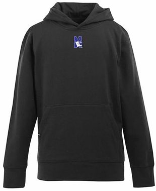 Northwestern YOUTH Boys Signature Hooded Sweatshirt (Team Color: Black)