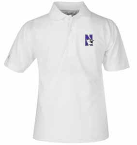 Northwestern YOUTH Unisex Pique Polo Shirt (Color: White) - Medium