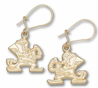 Notre Dame 10K Gold Leprechaun Post or Dangle Earrings