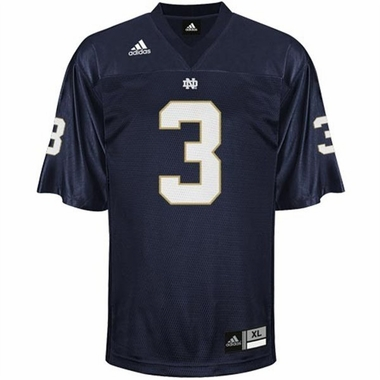 Notre Dame #3 Adidas Replica Football Jersey (Navy)