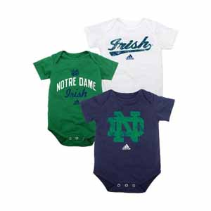 Notre Dame 3 Pack Distressed Creeper Set - 6-9 Months