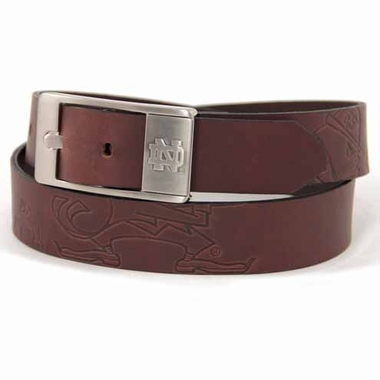 Notre Dame Brown Leather Brandished Belt