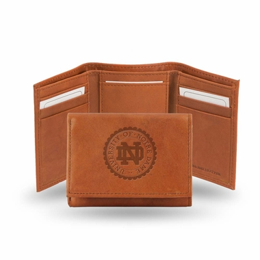 Notre Dame Embossed Leather Trifold Wallet