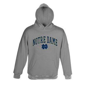 Notre Dame Embroidered Hooded Sweatshirt (Grey) - Large