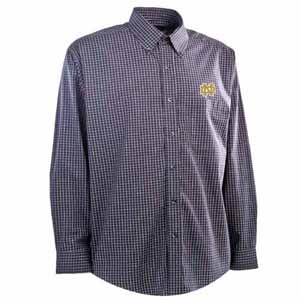 Notre Dame Mens Esteem Check Pattern Button Down Dress Shirt (Team Color: Navy) - Large