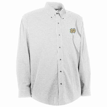 Notre Dame Mens Esteem Check Pattern Button Down Dress Shirt (Color: White)