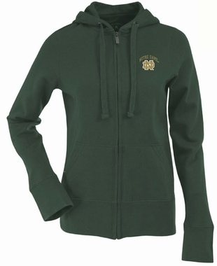 Notre Dame Green Womens Zip Front Hoody Sweatshirt (Color: Green)