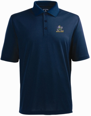 Notre Dame (Leprechaun) Mens Pique Xtra Lite Polo Shirt (Color: Navy)