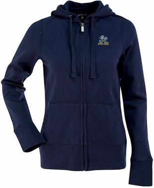 Notre Dame (Leprechaun) Womens Zip Front Hoody Sweatshirt (Color: Navy)
