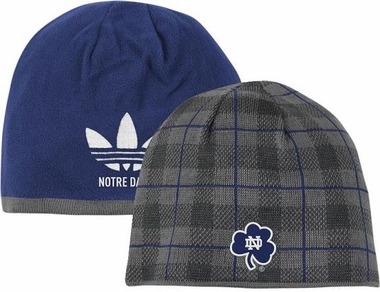 Notre Dame Long Reversible Plaid Knit Hat
