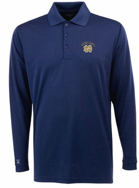 Notre Dame Mens Long Sleeve Polo Shirt (Color: Navy)