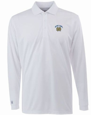 Notre Dame Mens Long Sleeve Polo Shirt (Color: White)