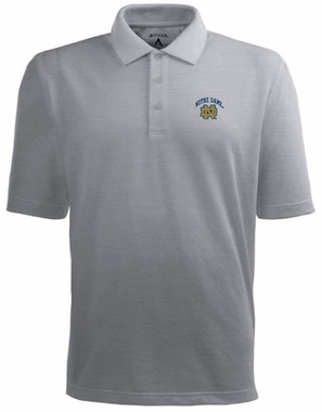 Notre Dame (ND Logo) Mens Pique Xtra Lite Polo Shirt (Color: Gray)