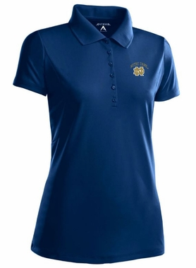Notre Dame (ND) Womens Pique Xtra Lite Polo Shirt (Color: Navy)