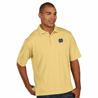 Notre Dame Mens Pique Xtra Lite Polo Shirt (Color: Gold) - Large