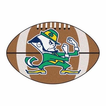 Notre Dame Shamrock Football Shaped Rug