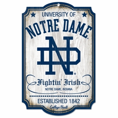 "Notre Dame Fighting Irish Wood Sign - College Vault - 11"" x 17"""