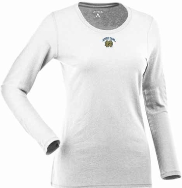 Notre Dame Womens Relax Long Sleeve Tee (Color: White)