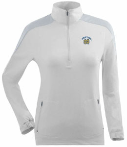 Notre Dame Womens Succeed 1/4 Zip Performance Pullover (Color: White) - Large
