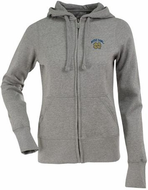 Notre Dame Womens Zip Front Hoody Sweatshirt (Color: Gray)