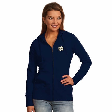 Notre Dame Womens Zip Front Hoody Sweatshirt (Team Color: Navy)