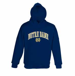 Notre Dame YOUTH Hooded Sweatshirt (Navy) - Medium