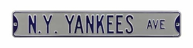 NY Yankees Ave Gray Street Sign