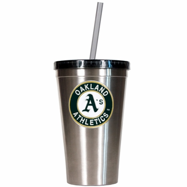 Oakland Athletics 16oz Stainless Steel Insulated Tumbler with Straw