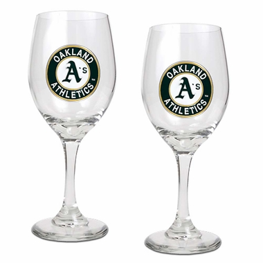Oakland Athletics 2 Piece Wine Glass Set