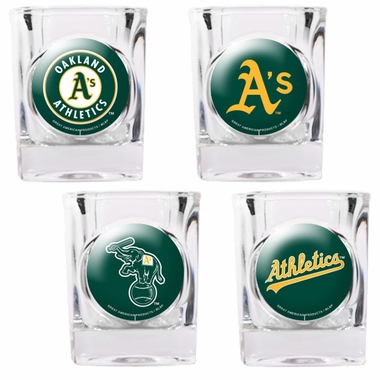 Oakland Athletics 4 Piece Assorted Shot Glass Set