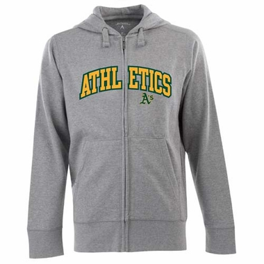 Oakland Athletics Mens Applique Full Zip Hooded Sweatshirt (Color: Gray)