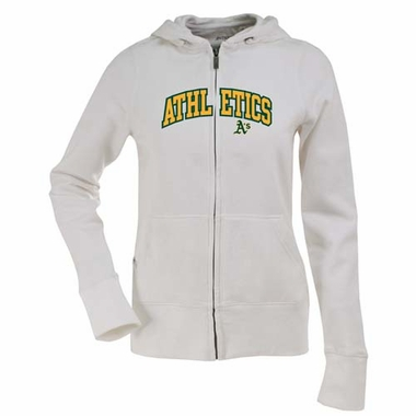 Oakland Athletics Applique Womens Zip Front Hoody Sweatshirt (Color: White)