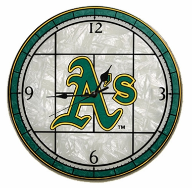 Oakland Athletics Art Glass Clock