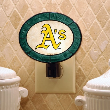 Oakland Athletics Art Glass Night Light