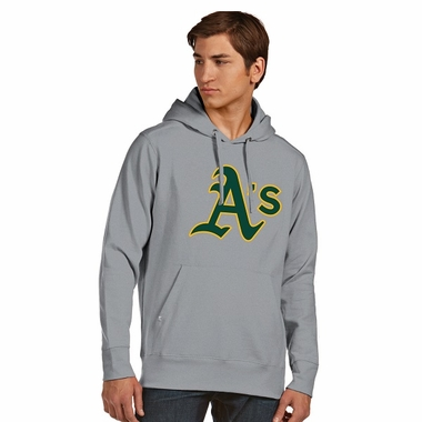 Oakland Athletics Big Logo Mens Signature Hooded Sweatshirt (Color: Gray)