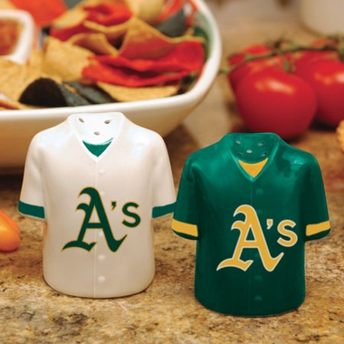 Oakland Athletics Ceramic Jersey Salt and Pepper Shakers
