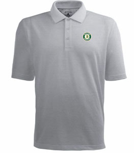 Oakland Athletics Mens Pique Xtra Lite Polo Shirt (Color: Gray) - Large