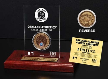 Oakland Athletics Oakland-Alemeda County Coliseum Infield Dirt Coin Etched Acrylic