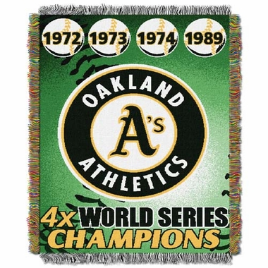 Oakland Athletics Commerative Jacquard Woven Blanket