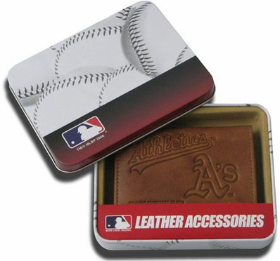 Oakland Athletics Embossed Leather Trifold Wallet