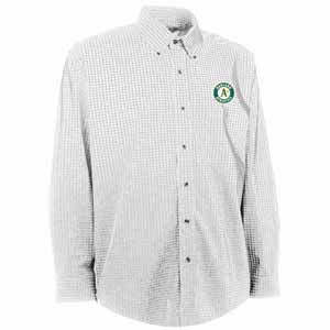 Oakland Athletics Mens Esteem Check Pattern Button Down Dress Shirt (Color: White) - Small