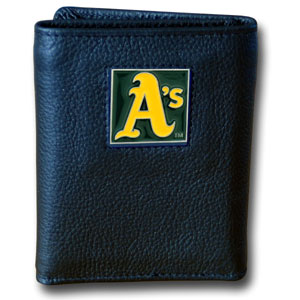 Oakland Athletics Leather Trifold Wallet (F)
