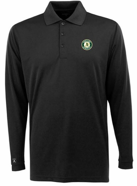 Oakland Athletics Mens Long Sleeve Polo Shirt (Color: Black)