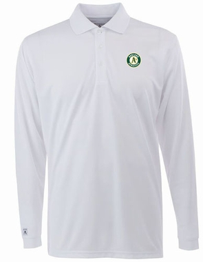Oakland Athletics Mens Long Sleeve Polo Shirt (Color: White)