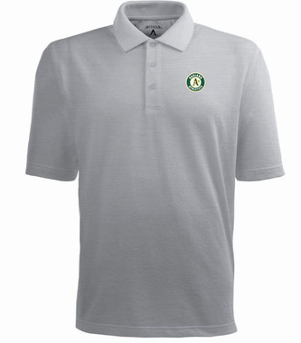 Oakland Athletics Mens Pique Xtra Lite Polo Shirt (Color: Gray)